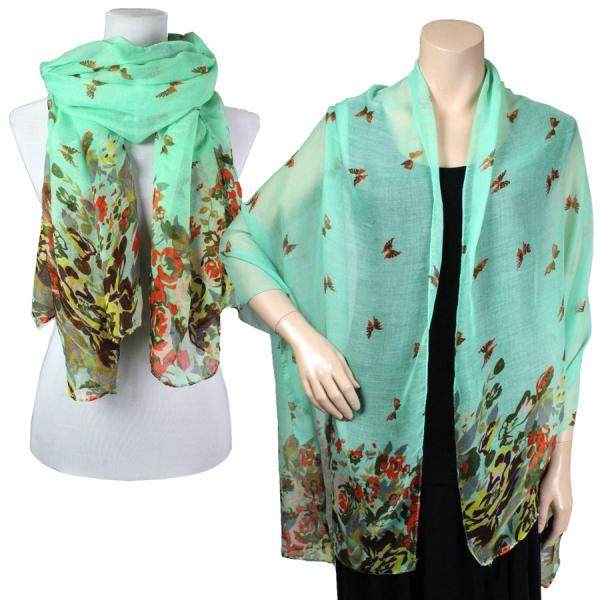 Big Scarves/Shawls - Butterfly Bottom 967* Seafoam -