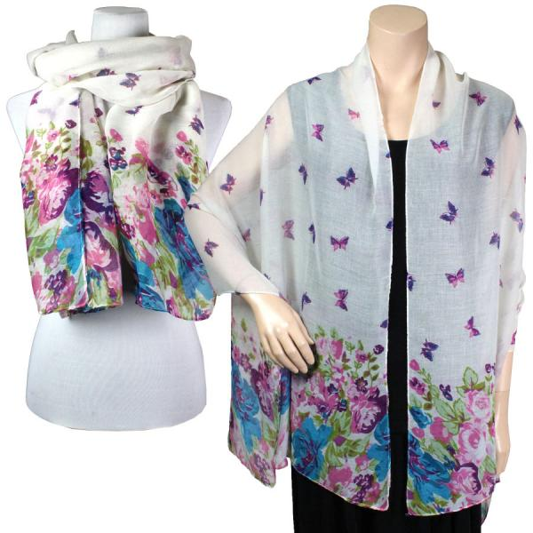 Big Scarves/Shawls - Butterfly Bottom 967* White -