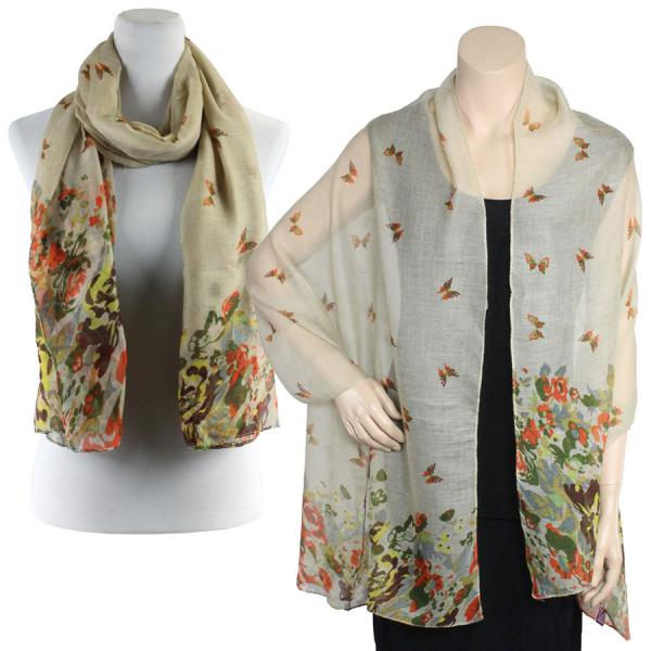 Big Scarves/Shawls - Butterfly Bottom 967* Beige -