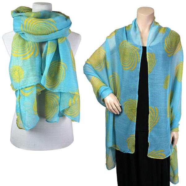 Big Scarves/Shawls - Spiral 017* Light Blue-Yellow -