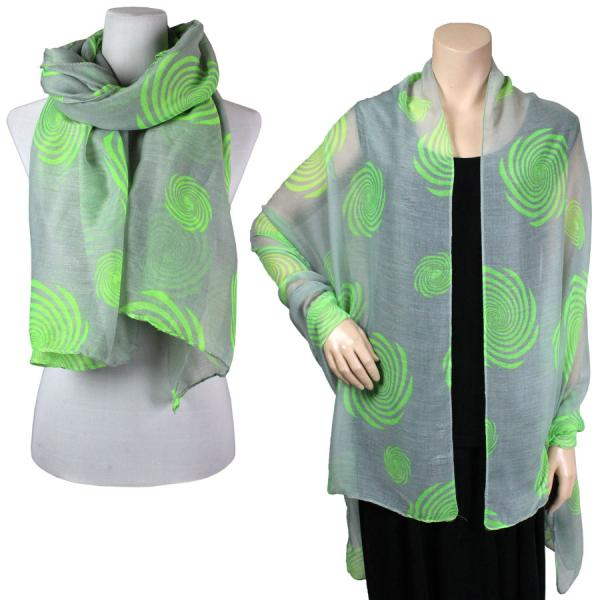 Big Scarves/Shawls - Spiral 017* Grey-Light Green -