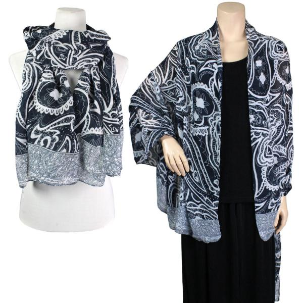 wholesale Big Scarves/Shawls - Abstract Paisley Design 4345* Black -