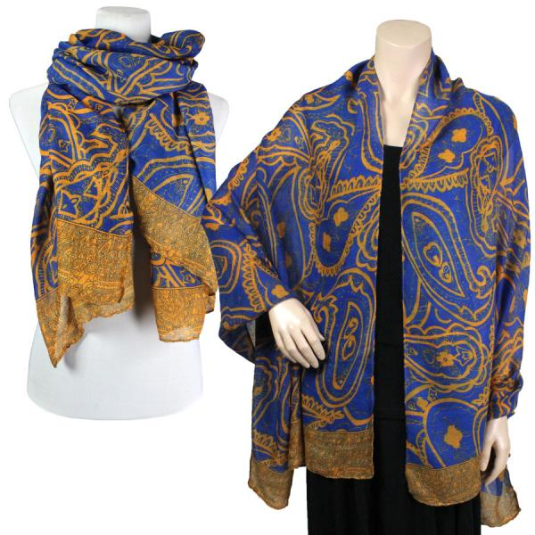 wholesale Big Scarves/Shawls - Abstract Paisley Design 4345* Blue -