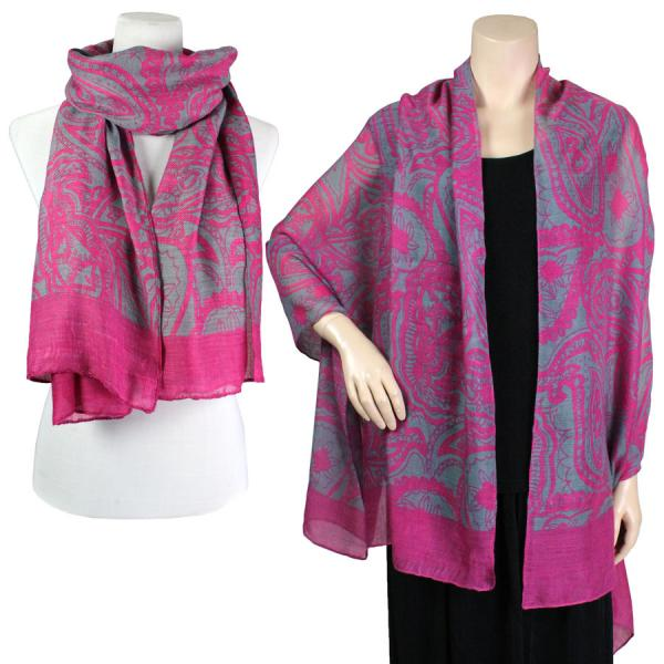 wholesale Big Scarves/Shawls - Abstract Paisley Design 4345* Fuchsia -