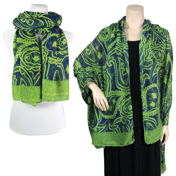 wholesale Big Scarves/Shawls - Abstract Paisley Design 4345* Green -