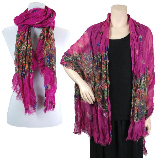 wholesale Big Scarves/Shawls - Crinkle Floral 1003* Fuchsia -