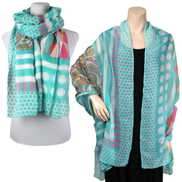Big Scarves/Shawls - Multi Dots 039 Turquoise -