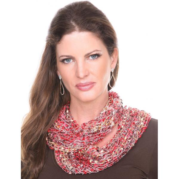 Wholesale Infinity Scarves - Confetti 26791 Red-Brown-Gold -