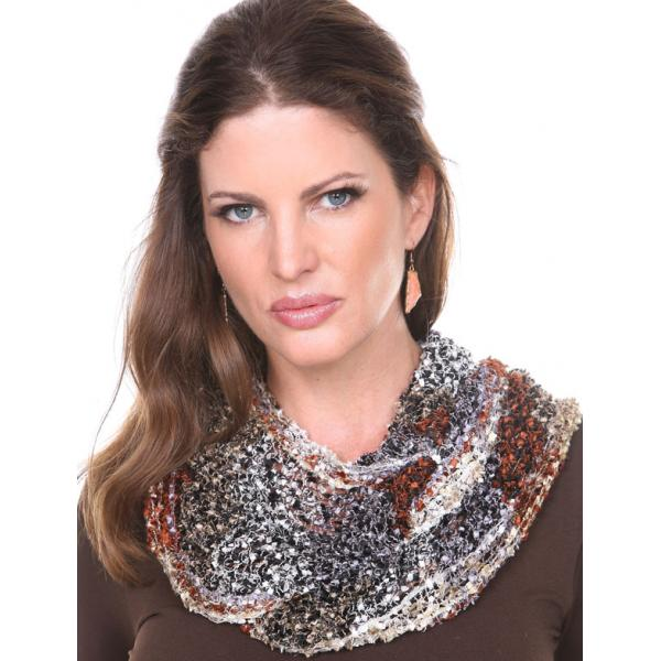 Wholesale Infinity Scarves - Confetti 26791 Black-Chestnut-Beige -