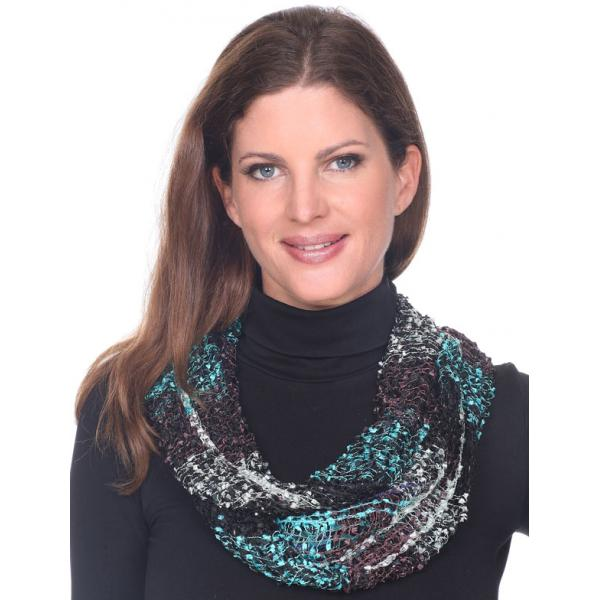 Wholesale Infinity Scarves - Confetti 26791 Black-Brown-Teal -