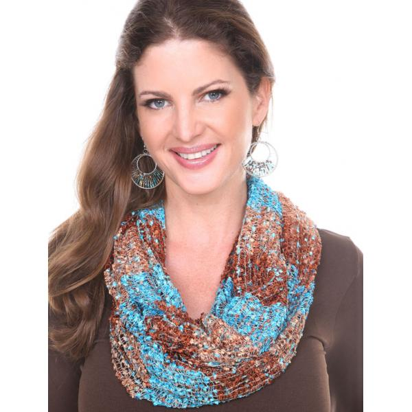 Wholesale Infinity Scarves - Confetti 26791 Turquoise-Brown -