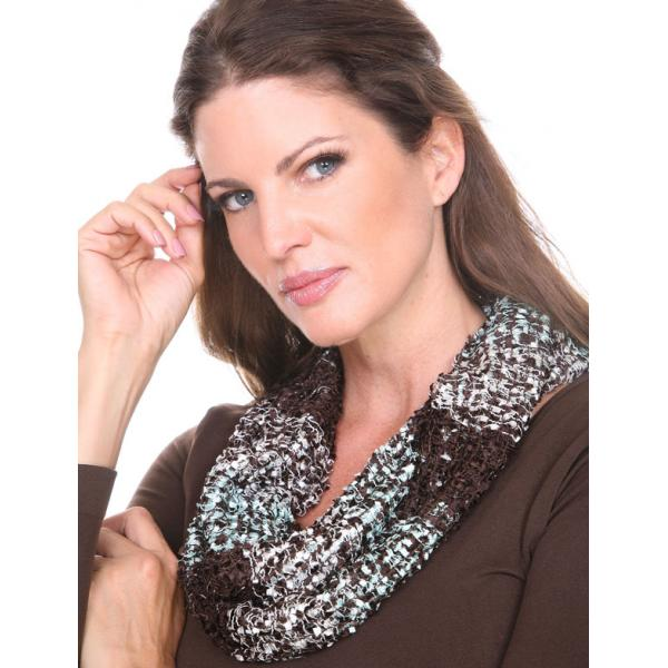 Wholesale Infinity Scarves - Confetti 26791 Chestnut-Mint -