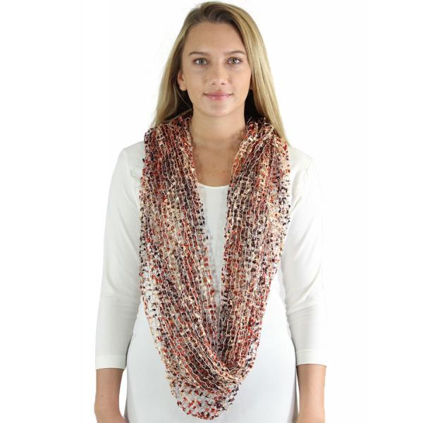 Wholesale Infinity Scarves - Confetti 26791 Brown-Orange-Tan -
