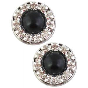 wholesale Magnetic Brooches - Small Double Sided MB336 Black-Silver (Double Sided) -