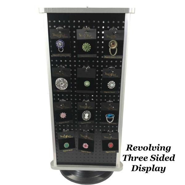 Magnetic Brooches - Small Double Sided Revolving Three Sided Display -