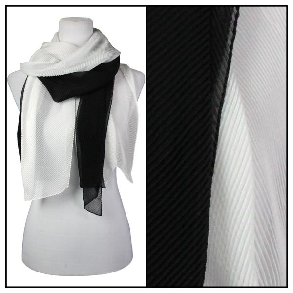 wholesale Oblong Scarves - Pleated* Black-White -