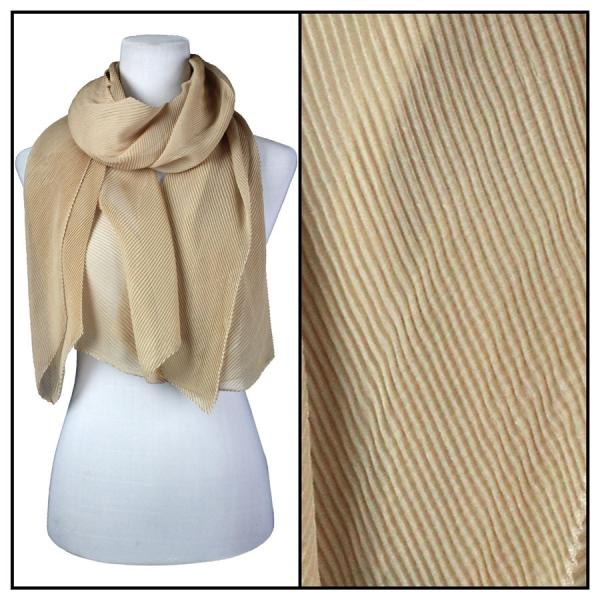 wholesale Oblong Scarves - Pleated* Champagne -