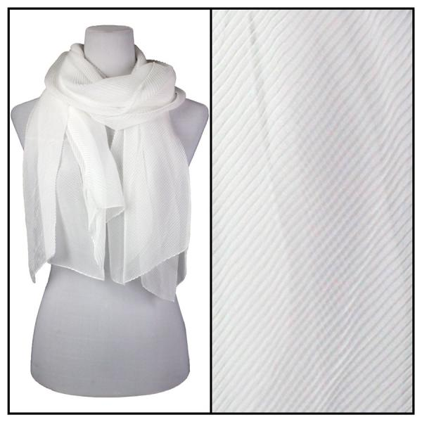 wholesale Oblong Scarves - Pleated* White -