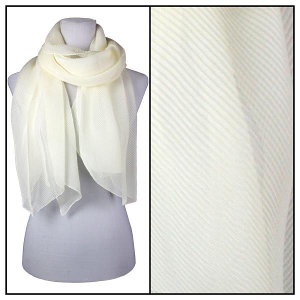 wholesale Oblong Scarves - Pleated* Ivory -
