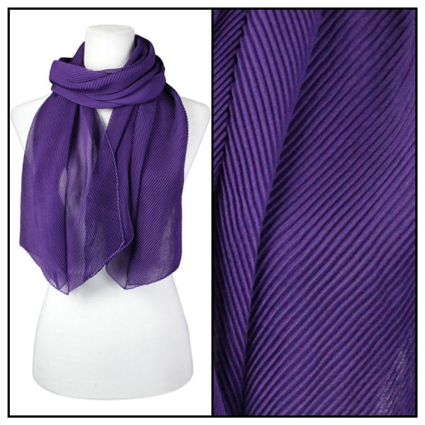 wholesale Oblong Scarves - Pleated* Eggplant -