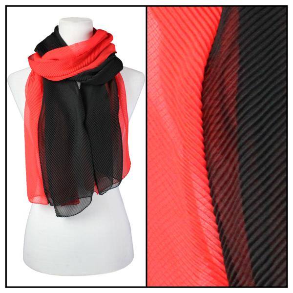wholesale Oblong Scarves - Pleated* Black-Red -