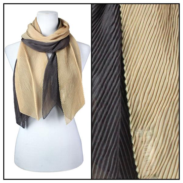 wholesale Oblong Scarves - Pleated* Champagne-Charcoal -