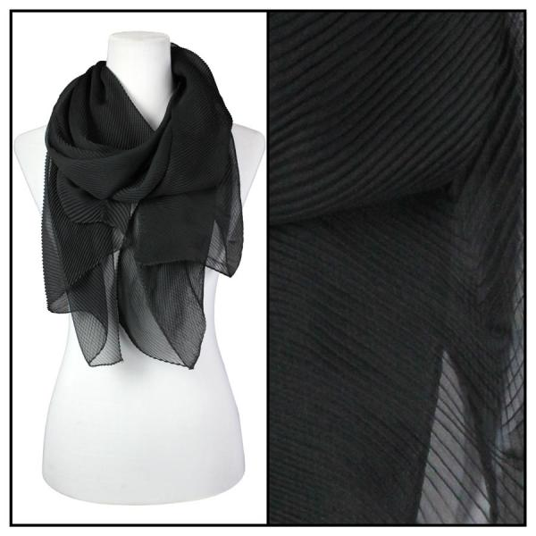 wholesale Oblong Scarves - Pleated* Black -