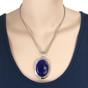 wholesale Pendant on Chain Necklace - Goddess of the Moon 29 - Sapphire Blue -