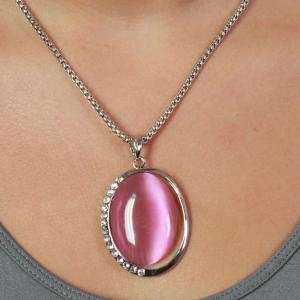 wholesale Pendant on Chain Necklace - Goddess of the Moon 29 - Pink -