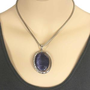 wholesale Pendant on Chain Necklace - Goddess of the Moon 29 - Purple -