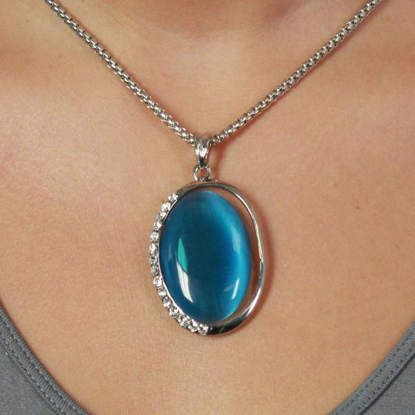 Wholesale Pendant on Chain Necklace - Goddess of the Moon 29 - Turquoise -