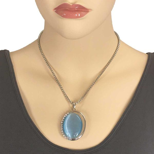 Wholesale Pendant on Chain Necklace - Goddess of the Moon 29 - Light Blue -