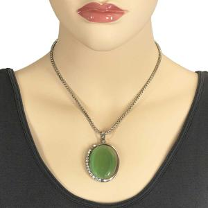 wholesale Pendant on Chain Necklace - Goddess of the Moon 29 - Light Green -