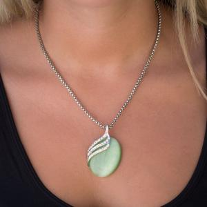 wholesale Pendant on Chain Necklace - Goddess of the Moon 11 - Light Green -