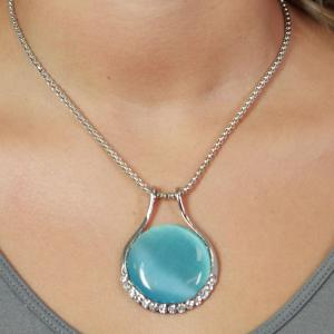 wholesale Pendant on Chain Necklace - Goddess of the Moon 33 - Light Blue -