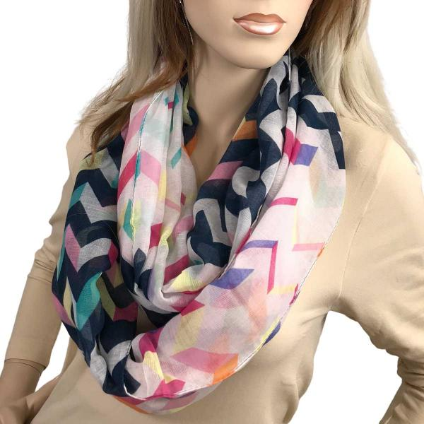 wholesale Infinity Scarves Wide - Modern Chevron 3788 #04 Navy Multi 3788 -