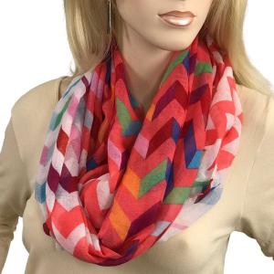 wholesale Infinity Scarves Wide - Modern Chevron 3788 #03 Coral Hot Pink Multi 3788 -