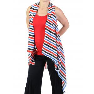 wholesale Red, White and Blue Chiffon Vests (Style 2) - #0060 Red-Blue -