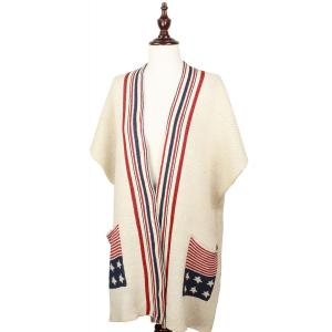 wholesale Red, White and Blue Cap Sleeve Cardigan - Americana w/ Pocket 8735 - Beige -