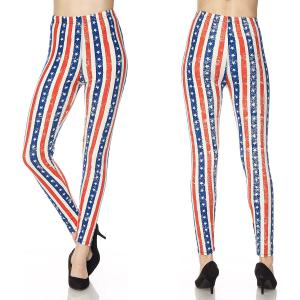 wholesale Red, White and Blue Brushed Fiber Print Ankle Leggings - N180 American Flag - One Size Fits All