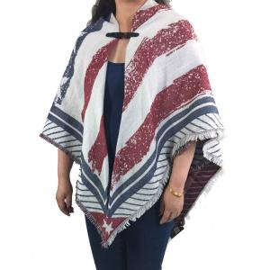 wholesale Red, White and Blue Square Scarves - Buckle JP482 U.S. Flag - One Size Fits All