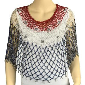 wholesale Red, White and Blue Beaded Poncho #006 USA -