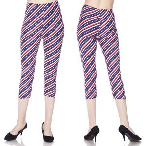 wholesale Red, White and Blue Brushed Fiber Print Capri Leggings - J298 Stars and Stripes - One Size Fits All