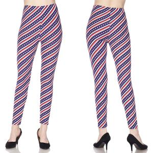 wholesale Red, White and Blue Brushed Fiber Print Ankle Leggings - J298 Stars and Stripes - One Size Fits All