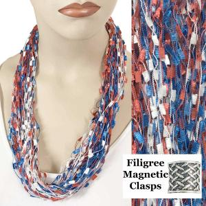 wholesale Red, White and Blue Confetti Thread Necklace (USA) -