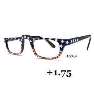 wholesale Red, White and Blue USA Design Hand Painted Reading Glasses +1.75 -