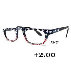 wholesale Red, White and Blue USA Design Hand Painted Reading Glasses +2.00 -