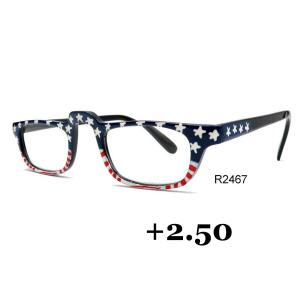 wholesale Red, White and Blue USA Design Hand Painted Reading Glasses +2.50 -