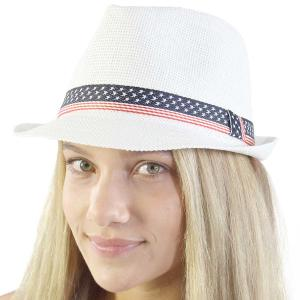wholesale Red, White and Blue 115 White Fedora with Stars and Stripes Band  (90% Paper 10% Poly) -