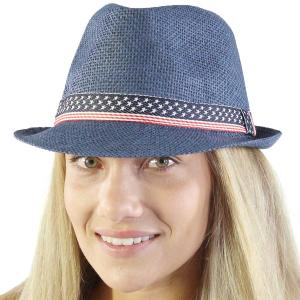 wholesale Red, White and Blue 115 Navy Fedora with Stars and Stripes Band  (90% Paper 10% Poly) -